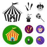 Circus tent, juggler maces, clown, magician hat.Circus set collection icons in black, flat style vector symbol stock. Illustration Royalty Free Stock Photo