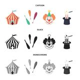 Circus tent, juggler maces, clown, magician hat.Circus set collection icons in cartoon,black,monochrome style vector. Symbol stock illustration Royalty Free Stock Image