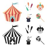 Circus tent, juggler maces, clown, magician hat.Circus set collection icons in cartoon,black style vector symbol stock. Illustration Stock Photography