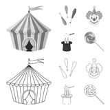Circus tent, juggler maces, clown, magician hat.Circus set collection icons in outline,monochrome style vector symbol. Stock illustration Royalty Free Stock Photo