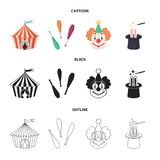 Circus tent, juggler maces, clown, magician hat.Circus set collection icons in cartoon,black,outline style vector symbol. Stock illustration Stock Photo