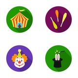 Circus tent, juggler maces, clown, magician`s hat.Circus set collection icons in flat style vector symbol stock Royalty Free Stock Images