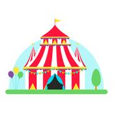 Circus show entertainment tent marquee outdoor festival with stripes flags carnival vector illustration. vector illustration