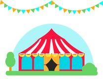 Circus show entertainment tent marquee outdoor festival with stripes flags carnival vector illustration. stock illustration