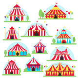 Circus tent marquee with stripes and flags . Ideal for carnival signs Stock Photos