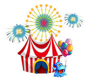 A circus tent with a monster in the front Royalty Free Stock Photo