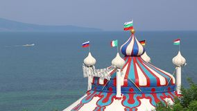 Circus tent near the sea stock video footage