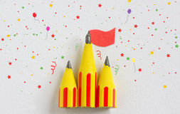 Circus tent from pencils. On paper Stock Images