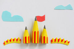Circus tent from pencils. On paper Royalty Free Stock Photos