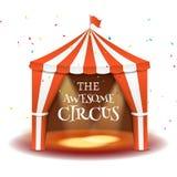 Circus tent poster. Circus retro invitation event. Fun carnival vector illustration. Amusement performance Stock Photos