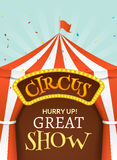 Circus tent poster. Circus retro invitation event. Fun carnival vector illustration. Amusement performance.  royalty free illustration