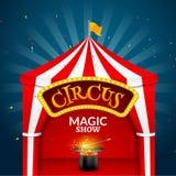 Circus tent poster. Circus retro sign invitation event. Fun carnival vector illustration. Amusement performance Stock Photography