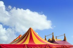 Circus tent red orange and yellow stripped pattern Royalty Free Stock Photos