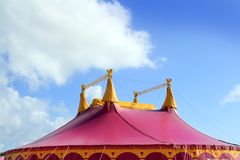 Circus tent red pink color four towers. Blue sky Royalty Free Stock Photography