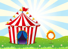 A circus tent and the ring with fire Stock Photography