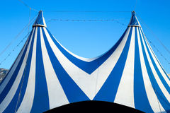 Circus tent stripped blue and white. Over clear sky Royalty Free Stock Photo
