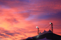 Circus tent in sunset time Royalty Free Stock Photos