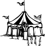 Circus Tent. Woodcut expressionist style image of a carnival circus tent Royalty Free Stock Photos