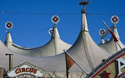 Circus tents. Top of circus tents on blue sky Stock Photography