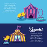 Circus tents with cannon and ring. Vector illustration design royalty free illustration