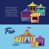 Circus tents with cute animals. Vector illustration design stock illustration