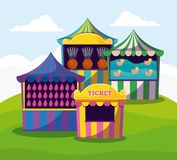 Circus tents with garlands isolated icon. Vector illustration design royalty free illustration