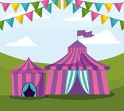 Circus tents with garlands isolated icon. Vector illustration design stock illustration