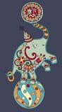 Circus theme - elephant balancing on a ball on stock illustration