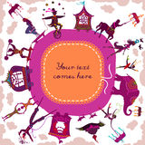 Circus themed circular frame with copyspace for your text Royalty Free Stock Images