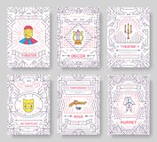 Circus thin line brochure cards set. Festival template of flyear, magazines, posters, book cover, banners. Vector. Outline invitation concept background. Layout Stock Image