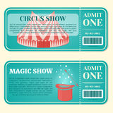 Circus ticket with pavilion and magic hat with wand in cartoon style. Vector illustration. Stock Photo