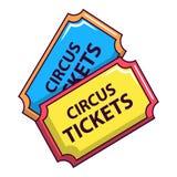 Circus tickets icon, cartoon style royalty free illustration