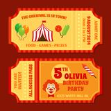Circus tickets template Royalty Free Stock Images