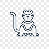 Circus Tiger concept vector linear icon isolated on transparent vector illustration