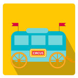 Circus trailer, wagon icon flat style with long shadows,  on white background. Vector illustration. Royalty Free Stock Photos