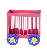 Circus Train Isolated. Red circus animal cage train car made out of wood,  isolated over a white background Stock Photography