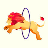 Circus trained wild animals performance. gradient lion jumps over the ring in the fire.  Stock Photo