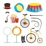 Circus Trainer Items Set Vector. Circus Accessories. Hat, Mustache, Ball, Podium, Stand, Whip, Tobacco, Popcorn, Soda Stock Images