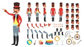 Circus Trainer Vector. Animated Character Creation Set. Full Length, Front, Side, Back View, Accessories, Poses, Face. Emotions Hairstyle Gestures Isolated Flat Stock Images