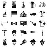 Circus training icons set, simple style. Circus training icons set. Simple set of 25 circus training vector icons for web isolated on white background Stock Photography