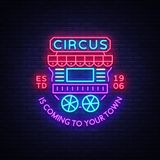Circus truck logo in neon style. Design template with trailers. Neon sign, light banner, design element, bright night. Advertising for your projects. Sitting on Stock Photo