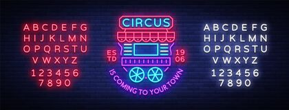 Circus truck logo in neon style. Design template with trailers. Neon sign, light banner, design element, bright night. Advertising. Sitting on wheels. Vector Stock Photo