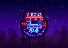 Circus truck logo in neon style. Design template with trailers. Neon sign, light banner, design element, bright night. Advertising for your projects. Sitting on Stock Images