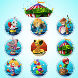 Circus vector clip art set. Colorful circus set with different animals and character Royalty Free Stock Photography
