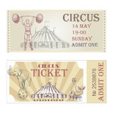 Circus vector horizontal tickets front side. Stock Photo