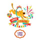 Circus clipart. Brave circus tiger jumping through the ring. Circus. Vector illustration. Circus tiger jumping through a ring of fire. Composition of cliparts Royalty Free Stock Photos