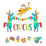 Circus clipart. Circus trained animals. Circus. Vector illustration. Isolated on a white background. Two trained horses with feathers on their heads holding a Stock Image