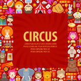 Circus vector logo design template. clown, artist. Fun fair. circus performers and animals on a red background Stock Photography