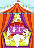 Circus vector paper cut poster design template royalty free illustration