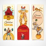 Circus vintage banners set. Traveling chapiteau circus advertising fantastic clown performance three vertical vintage banners set isolated doodle sketch vector Royalty Free Stock Image